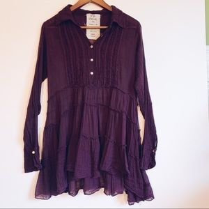 Free People Purple Tiered Ruffle Tunic Top